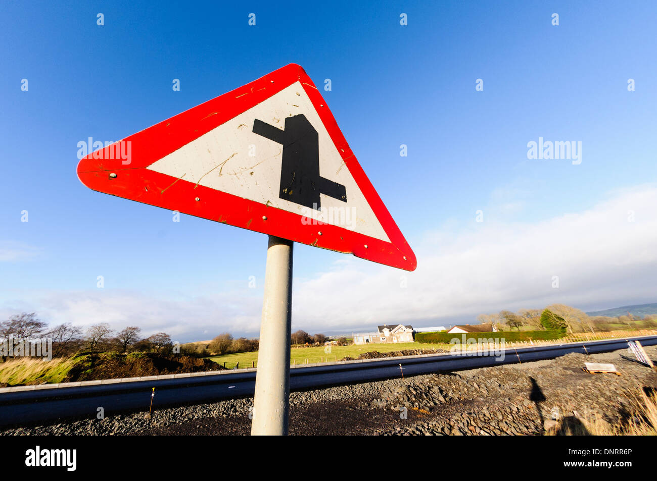Staggered junction road sign - Stock Image