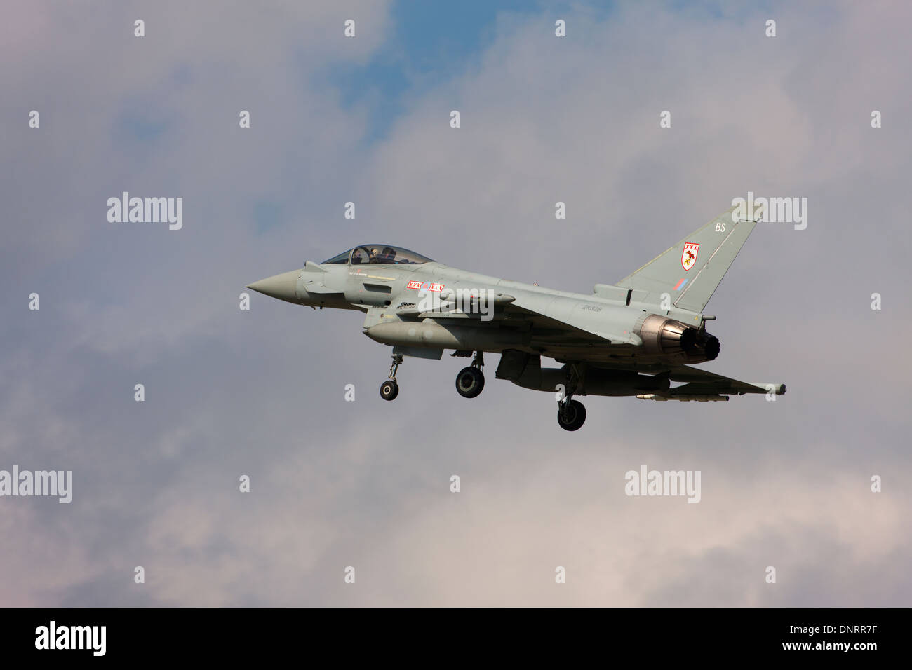 Eurofighter Typhoon FGR4  ZK328 on final approach to land - Stock Image