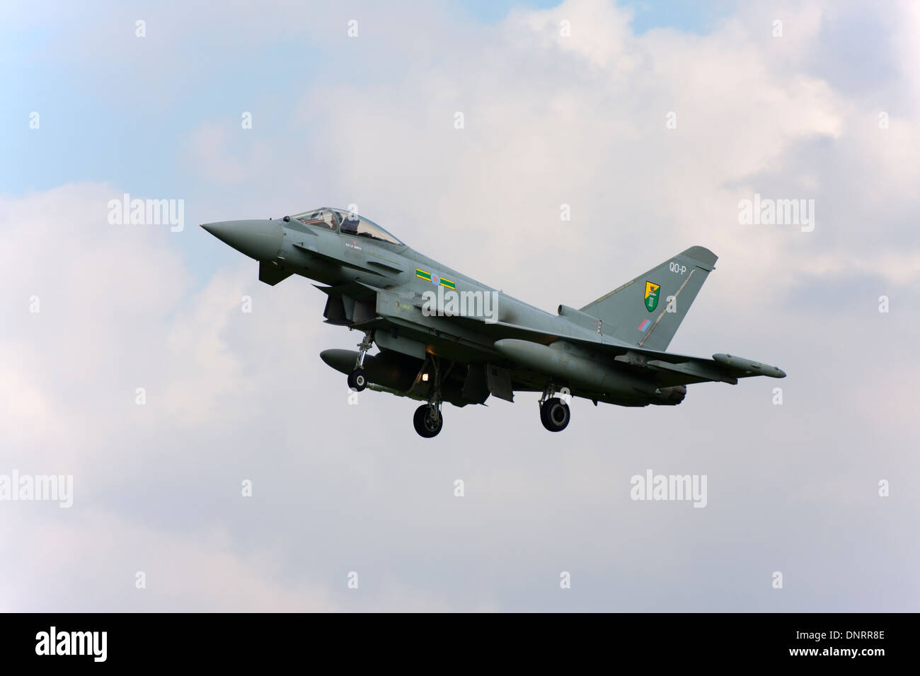 Eurofighter Typhoon FGR4 on final approach to land - Stock Image