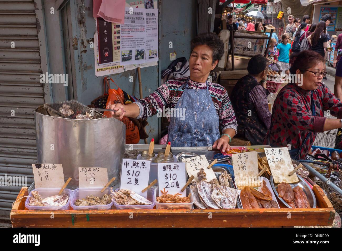 Stall Selling Grilled Dried Fish, Lantau Island, Hong Kong, China - Stock Image