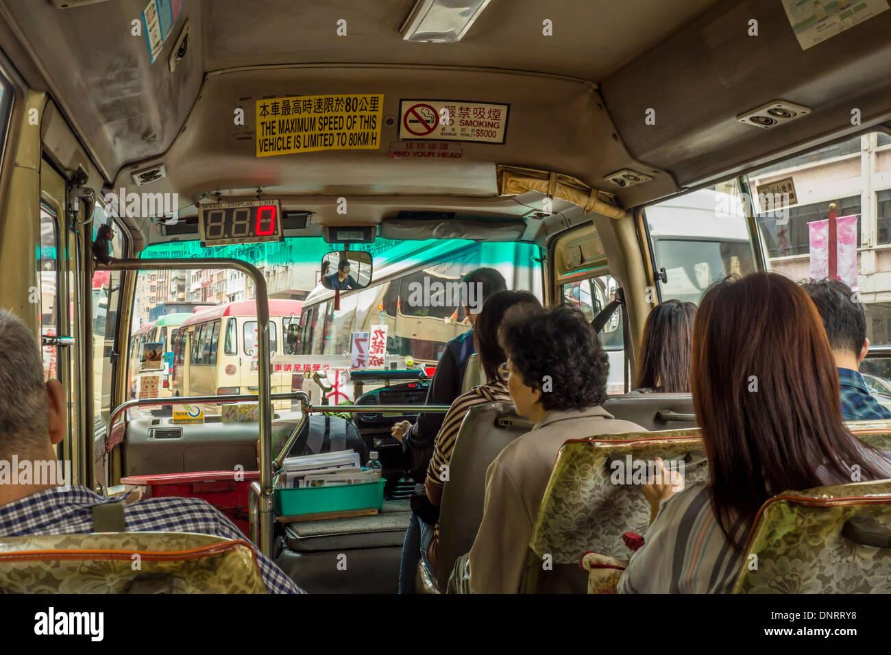 Interior of Minibus, Hong Kong, China - Stock Image
