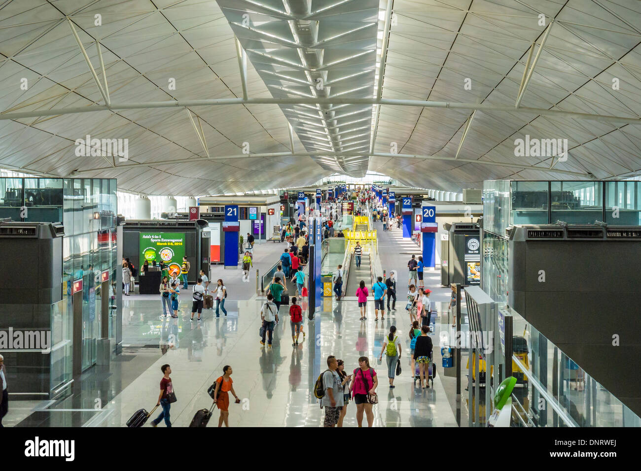 Interior of Terminal, Hong Kong International Airport, Hong Kong Stock Photo