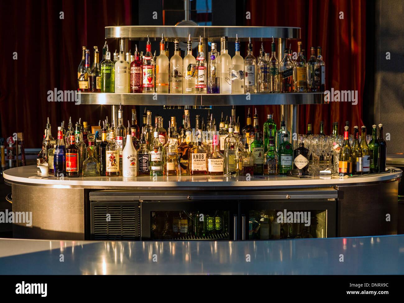 Early morning light illuminates a hotel bar in downtown Denver, Colorado, USA - Stock Image