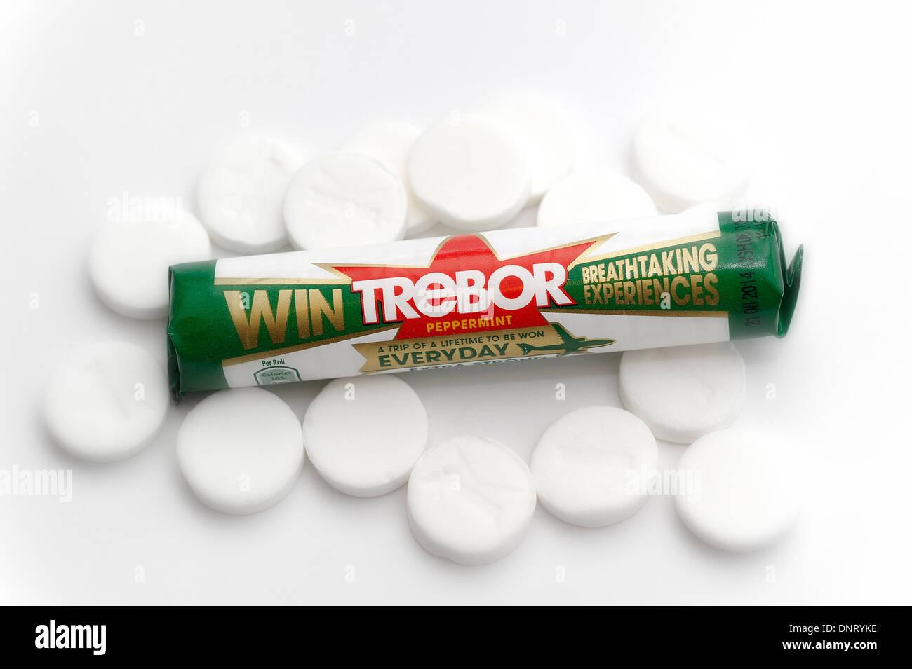 Trebor extra strong mints robert backwards retail pack tube - Stock Image