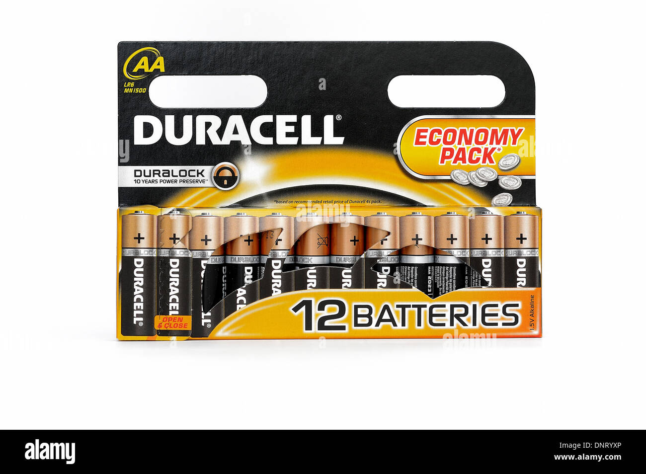 Duracell economy 12 pack duralock batteries AA - Stock Image