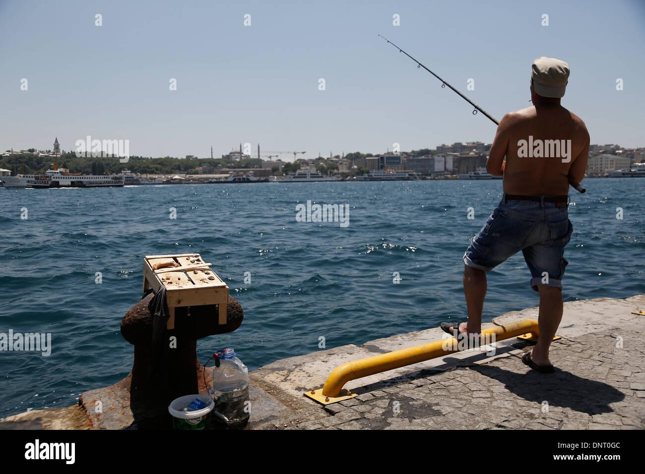 Istanbul Turkey sea Bosphorus Bosporus fisher - Stock Image