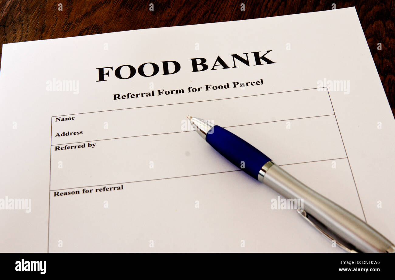 Generic Model Of A Referral Form For Assistance From A Food