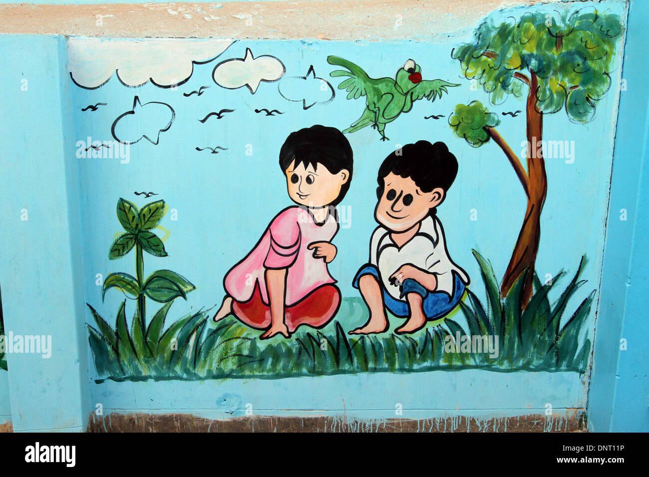 School Wall Paint Meena Cartoon In Dhaka Stock Photo 65066562 Alamy