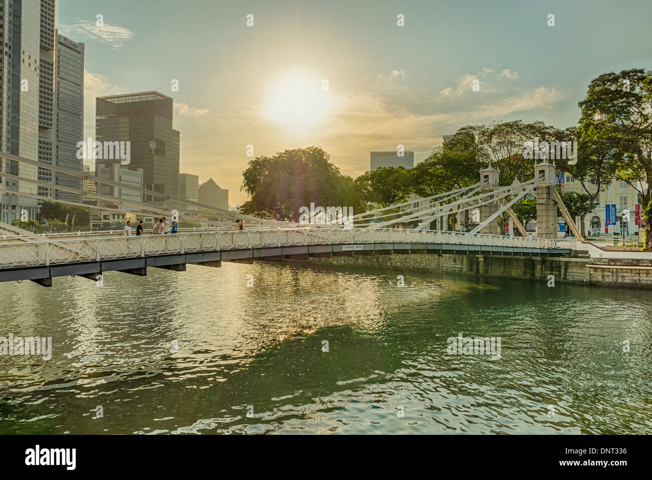 Anderson Bridge, Singapore - Stock Image