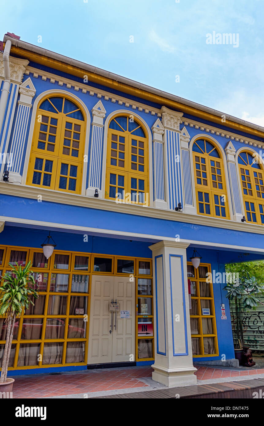 Colorful Building in Kampong Glam, Singapore - Stock Image
