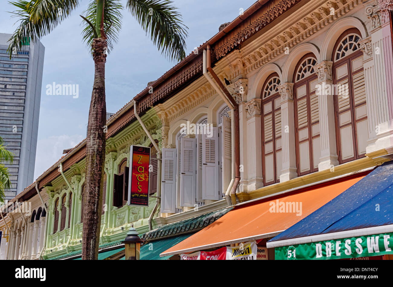 Line up of Colorful Building at Kampong Glam, Singapore - Stock Image