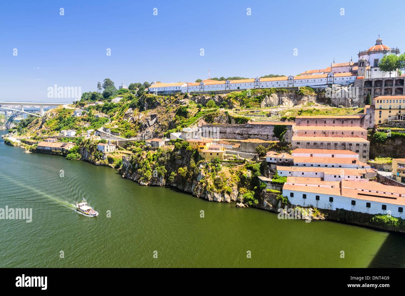 Douro river and wine cellars of Porto, Portugal - Stock Image