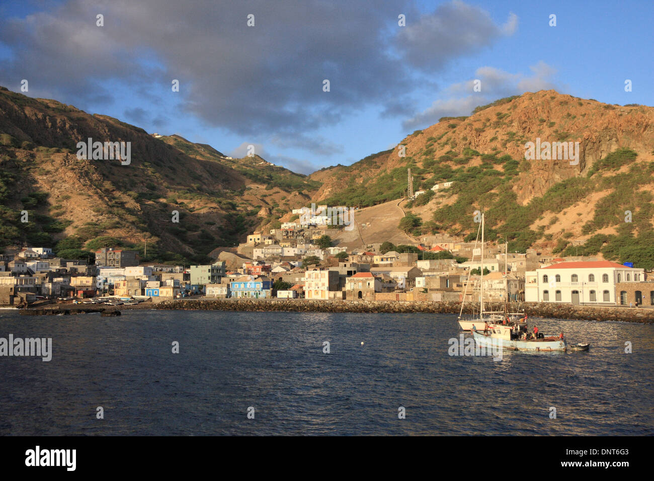 The port village of Furna on the island of Brava, Cape Verde where the ferry from the island of Fogo docks. Stock Photo