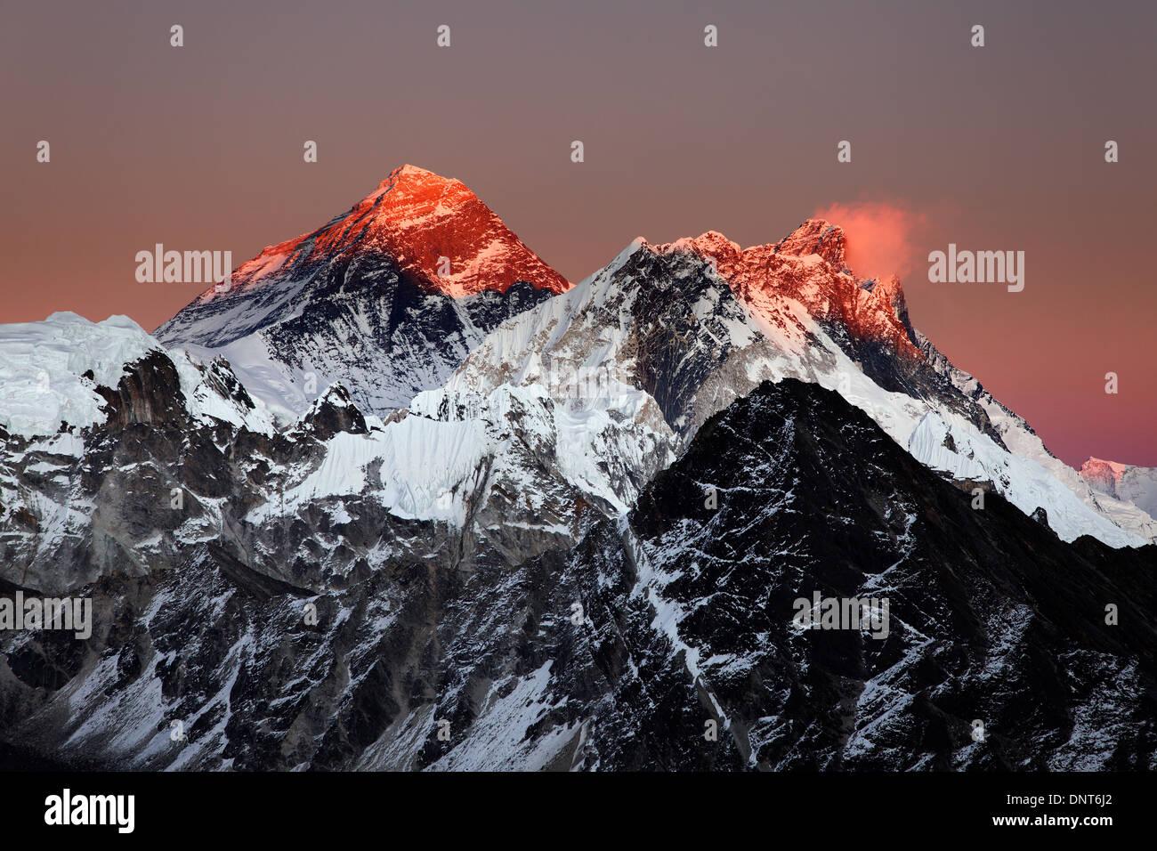 Mount Everest, Nuptse and Lhotse viewed at sunset from Gokyo Ri, Nepal Himalaya Stock Photo
