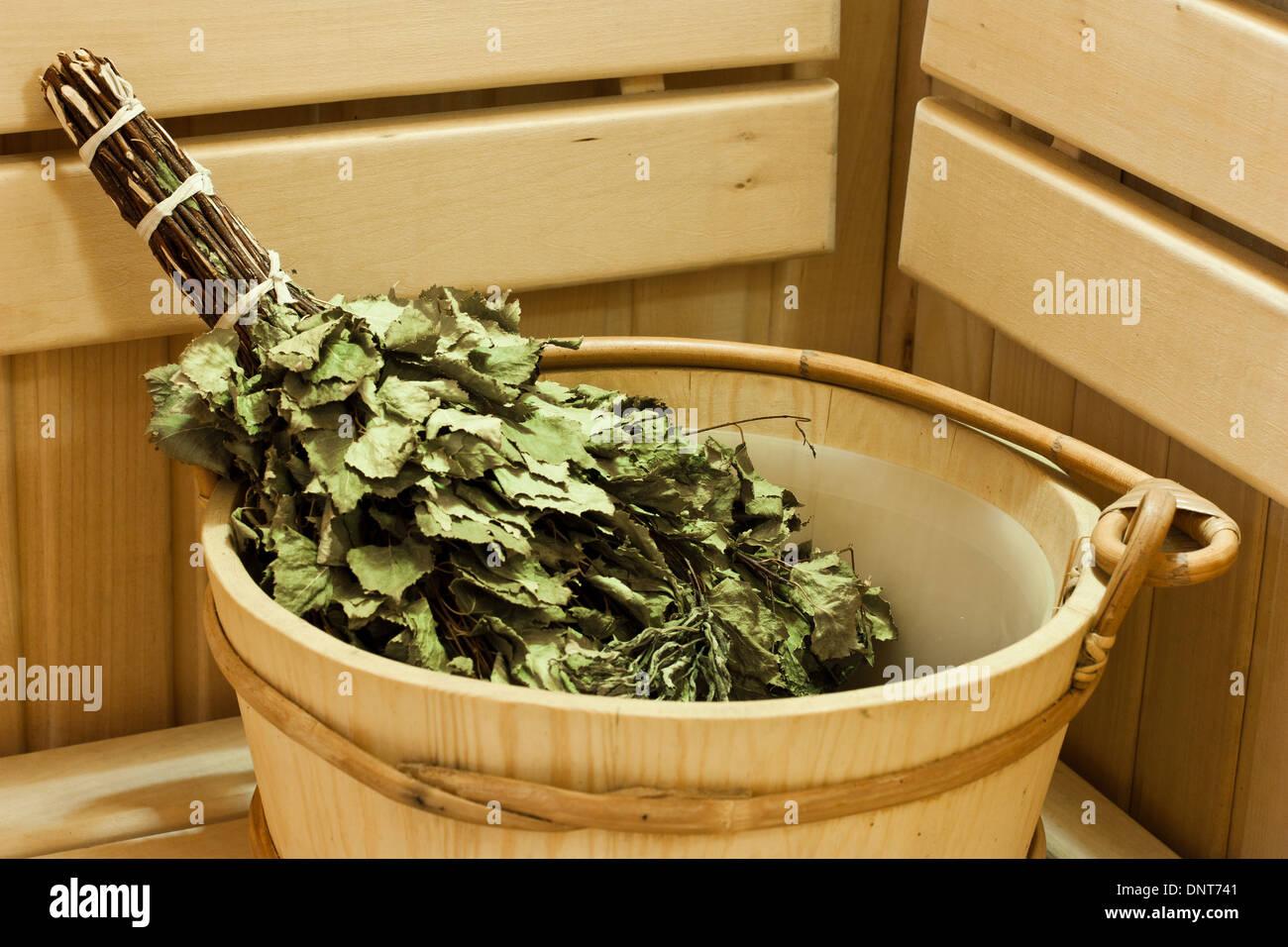 sauna bath and sauna accessories, bucket and broom - Stock Image