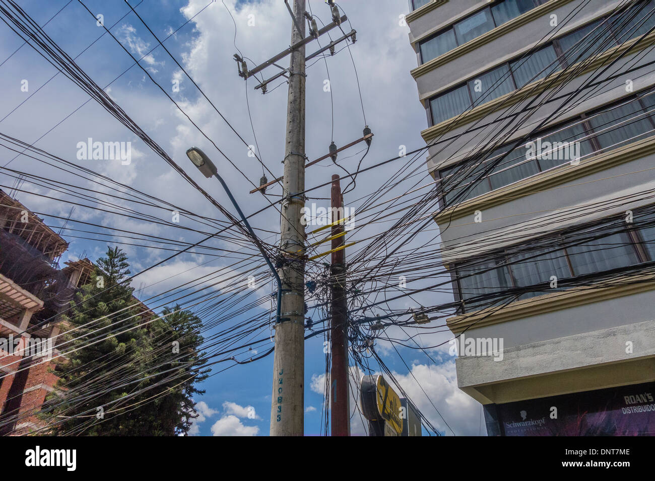 Jumbled Wires Stock Photos Images Alamy Wiring Closet Mess Tangled Electrical And Telephone In Bolivia Causing A Real Complex For Technicians Working On