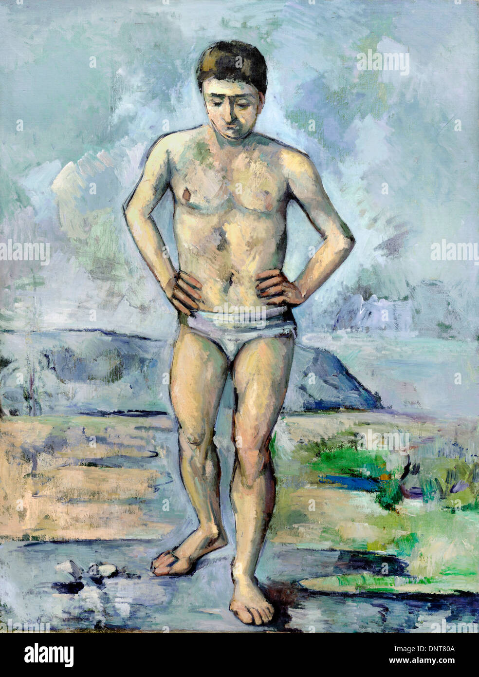 Paul Cezanne, The Bather 1885 Oil on canvas. Museum of Modern Art, New York City, USA. - Stock Image