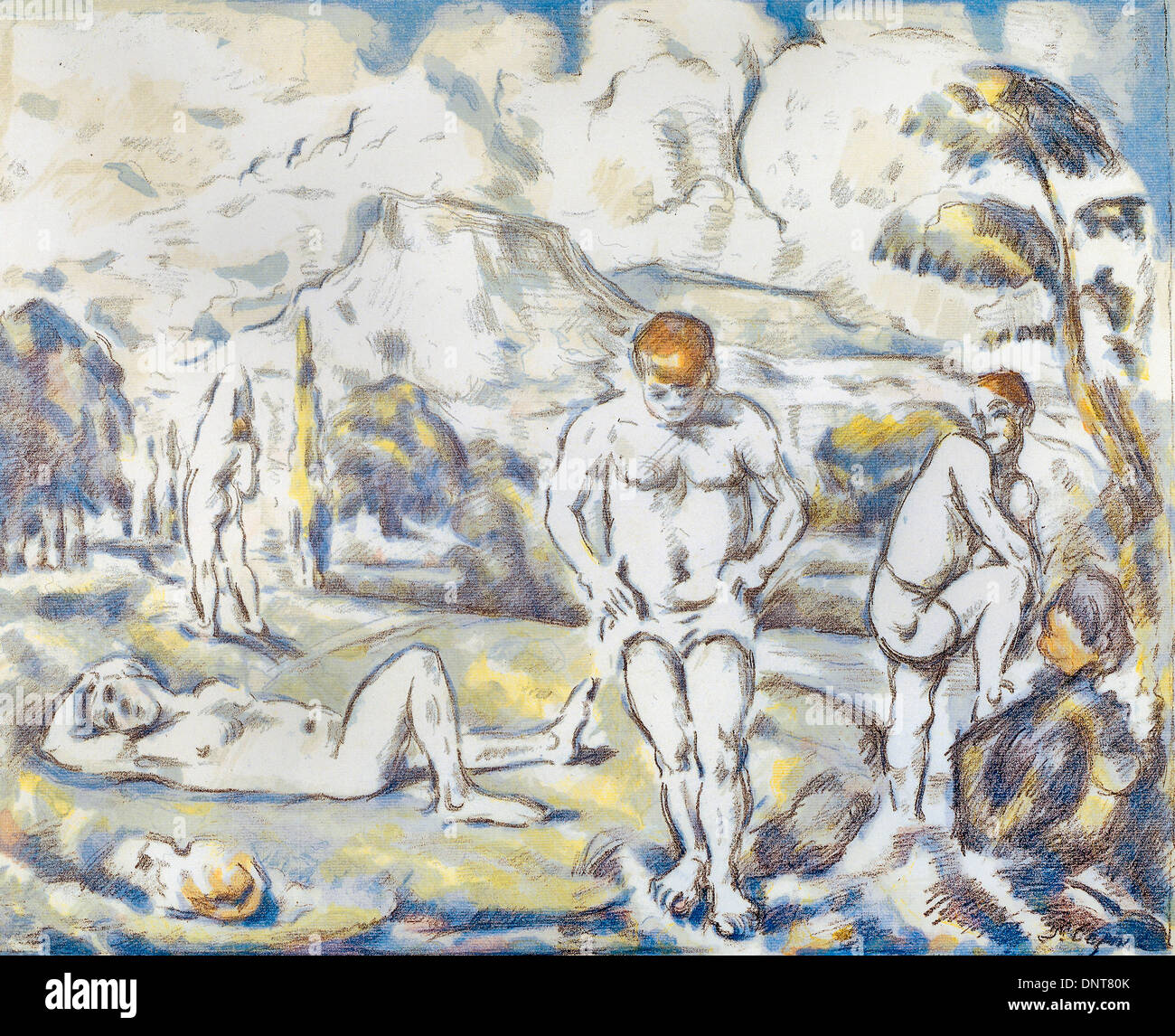 Paul Cezanne, The bathers 1896-1908 Color lithograph on paper. Art Gallery of South Australia, North Terrace, Australia. - Stock Image