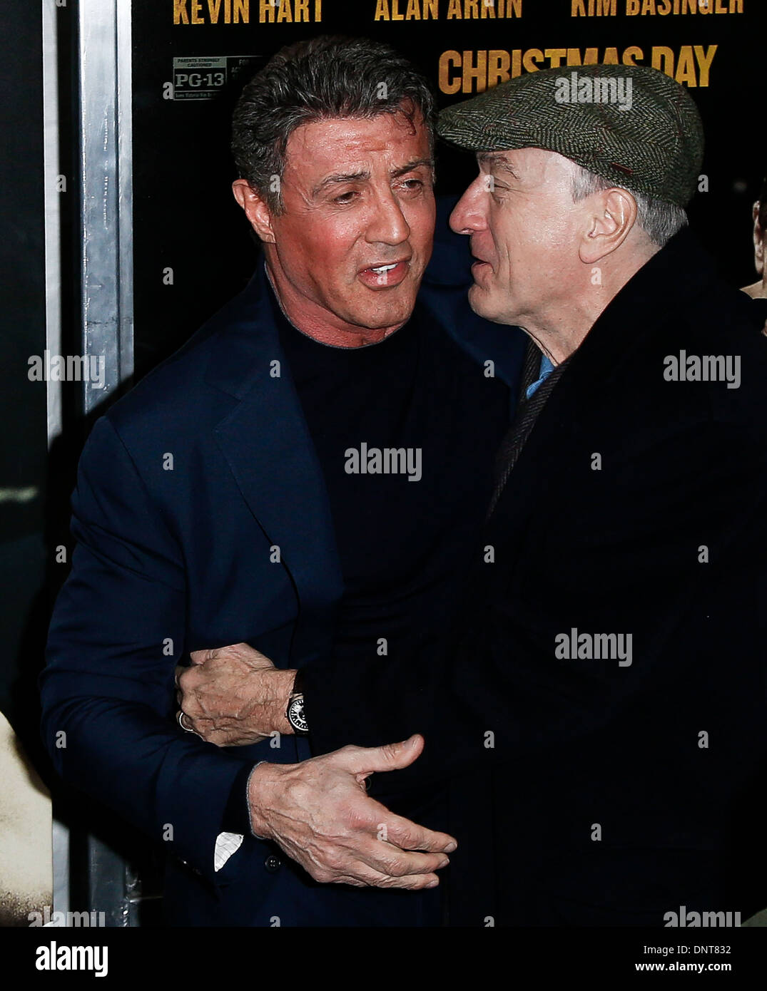 """Robert DeNiro (R) and Sylvester Stallone attend the world premiere of """"Grudge Match"""" at the Ziegfeld Theatre. Stock Photo"""