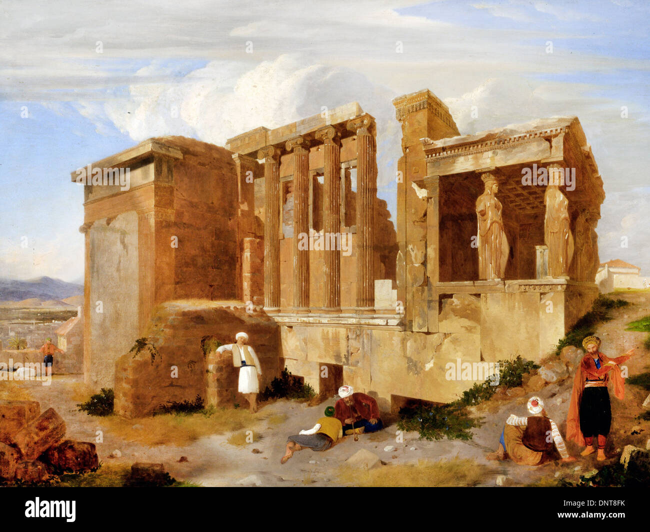 Charles Lock Eastlake, The Erechtheum, Athens, with Figures in the Foreground 1821 Oil on canvas. Yale Center for British Art - Stock Image
