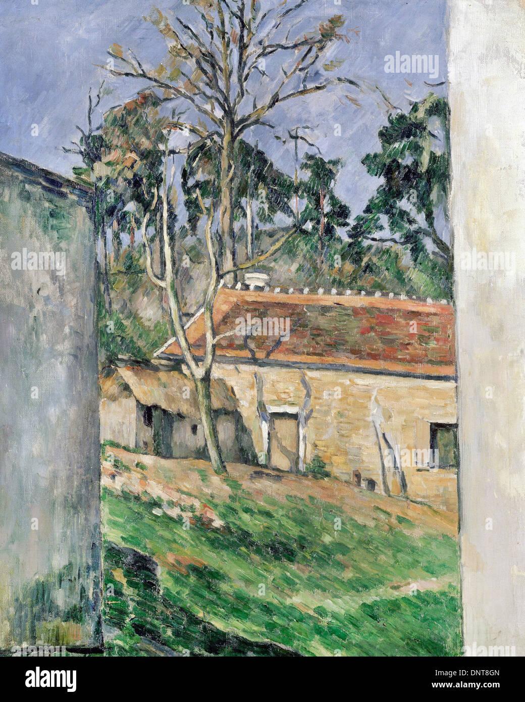 Paul Cezanne, Farmyard 1879 Oil on canvas. Musée d'Orsay, Paris, France. - Stock Image