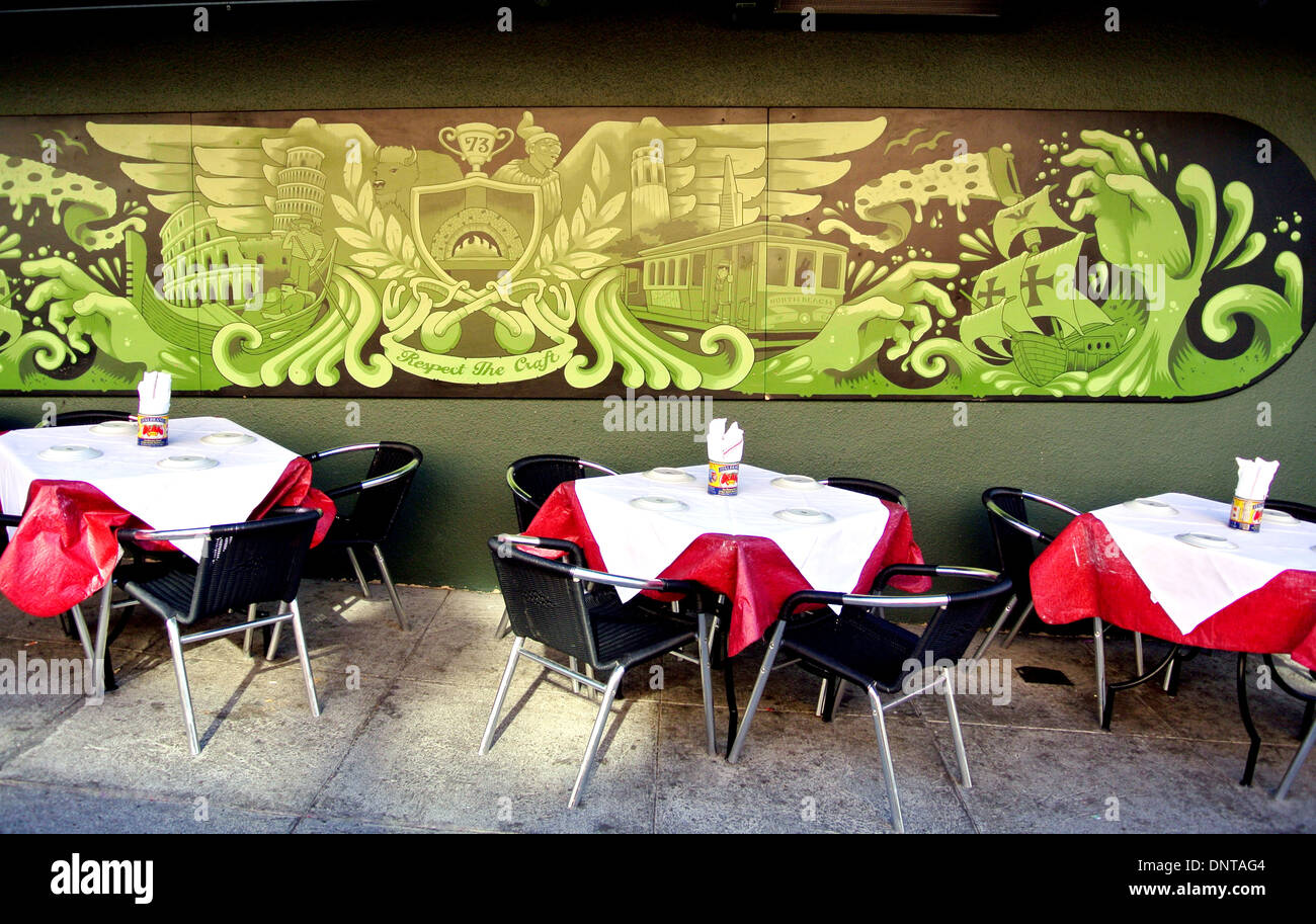 table settings at North Beach San Francisco restaurant - Stock Image