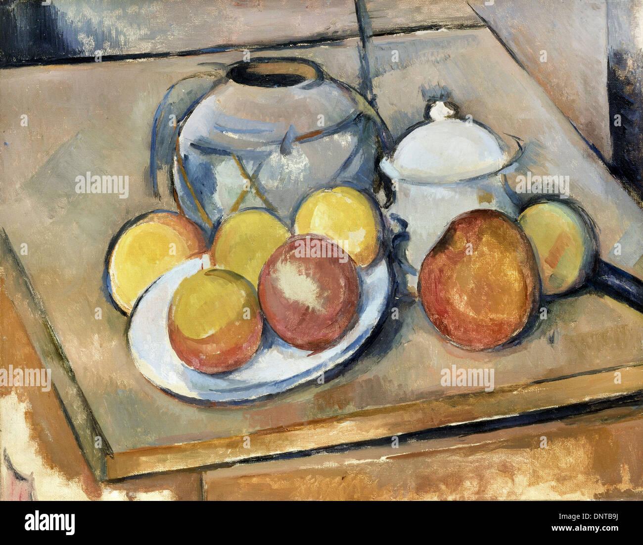 Paul Cezanne, Straw-Trimmed Vase, Sugar Bowl and Apples 1890-1893 Oil on canvas. Musee de l'Orangerie, Paris, France. - Stock Image