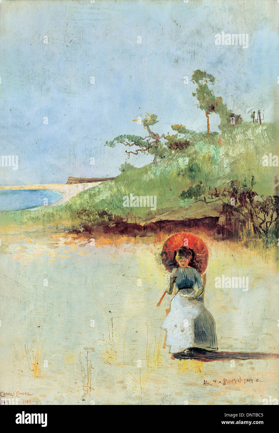 Charles Conder, All on a summer's day 1888 Oil on wood panel. Art Gallery of South Australia, North Terrace, Australia. - Stock Image