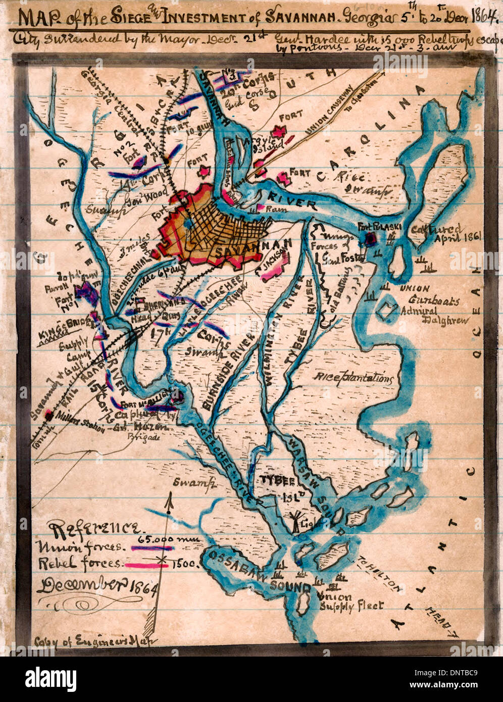 Map Of The Siege And Investment Of Savannah Georgia 5th To 20th