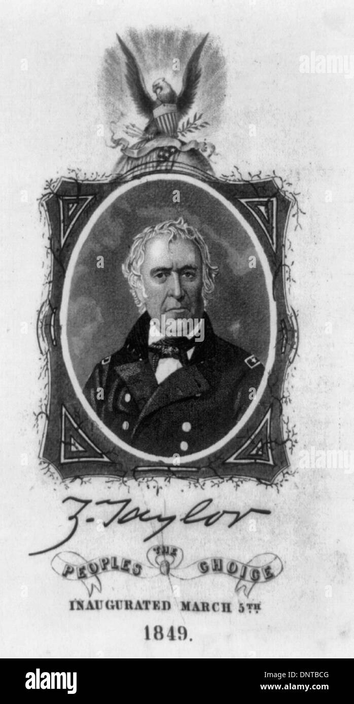 A commemorative badge for the inauguration of President Zachary Taylor. Taylor was sworn in on March 5, 1849, a day later than the customary inauguration date, which in 1849 fell on a Sunday. The badge features a bust portrait of Taylor in uniform, which appears to be based on one of several daguerreotypes of the general taken at and shortly after the close of the Mexican War. It is set within a rectangular frame which is entwined with a thin vine. The frame is surmounted by a globe on which rest an American flag, a scroll, and an eagle holding arrows and olive branch. - Stock Image