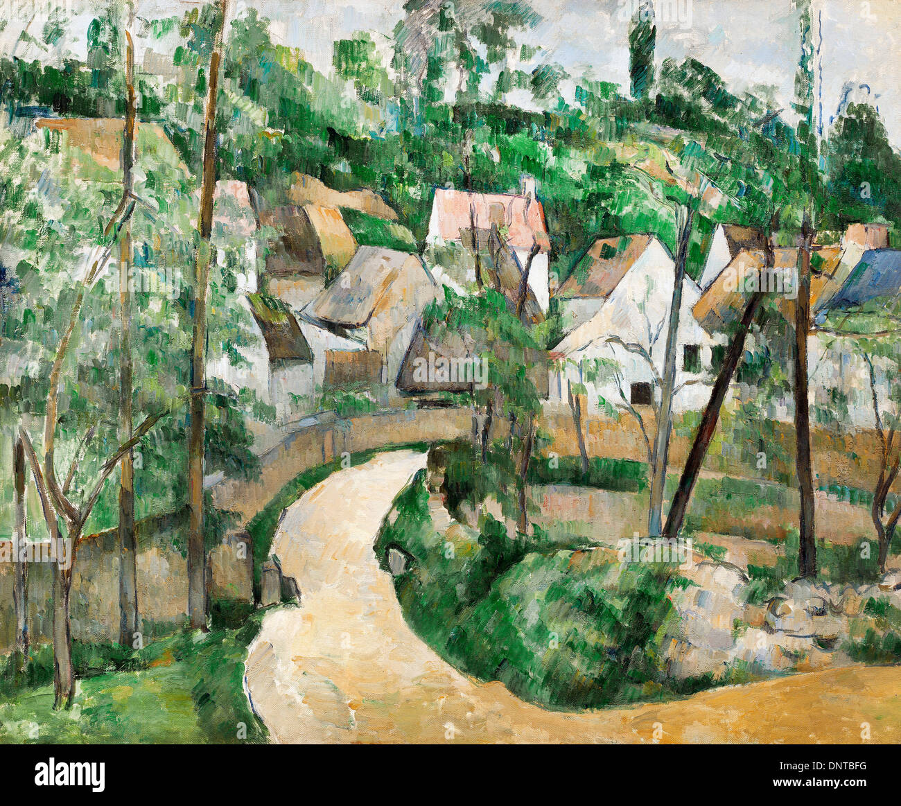 Paul Cezanne, Turn in the Road. Circa 1881. Oil on canvas. Museum of Fine Arts Boston, Boston, Massachusetts, USA. - Stock Image