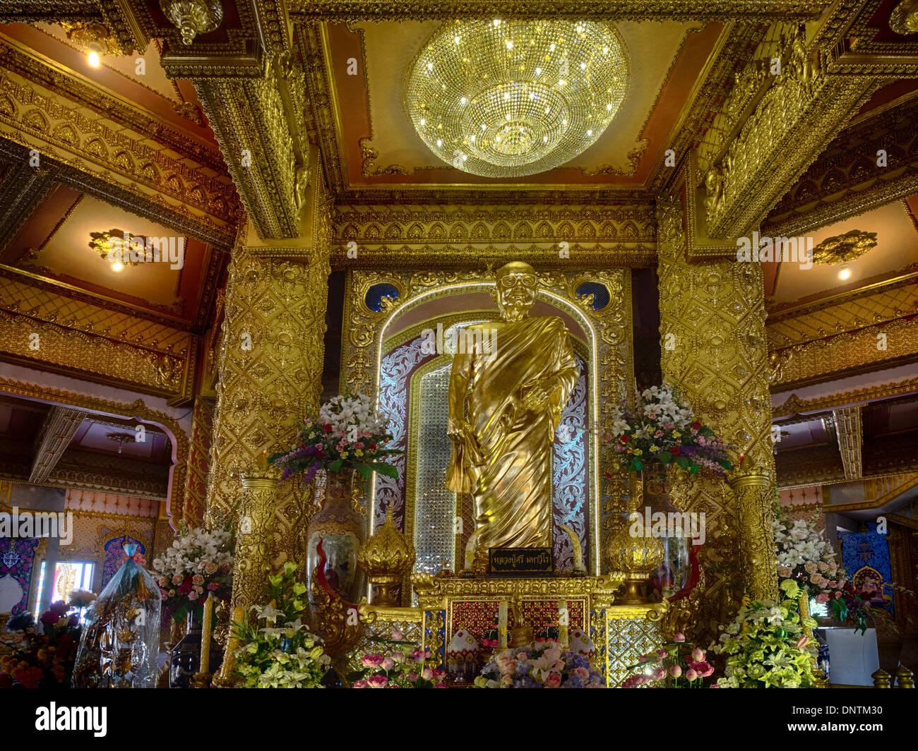Revered Monk  at Phra Maha Chedi Mongkol, Roi Et, Thailand - Stock Image