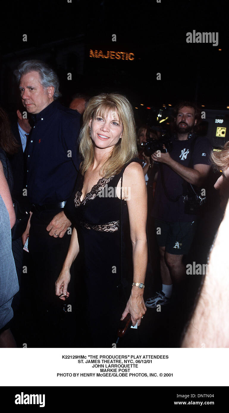 June 12, 2001 - K22129HMc ''THE PRODUCERS'' PLAY ATTENDEES.ST. JAMES THEATRE, NYC, 06/12/01.JOHN LARROQUETTE.MARKIE POST. HENRY McGEE/   2001(Credit Image: © Globe Photos/ZUMAPRESS.com) - Stock Image