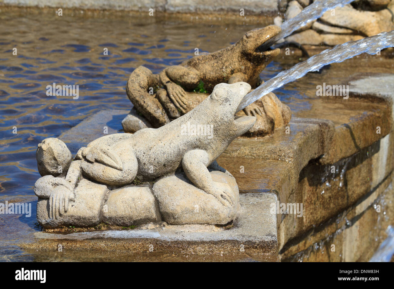 Frog Fountain Architectural Detail - Stock Image