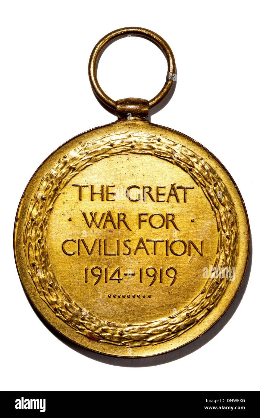 The Great War for Civilisation 1914-1919 wording on Allied Victory Medal from First World War. - Stock Image
