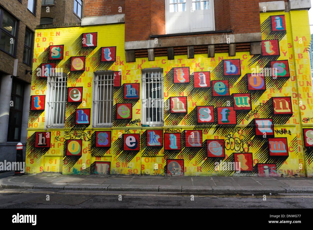 An art work by Ben Eine in Middlesex Street, London. - Stock Image