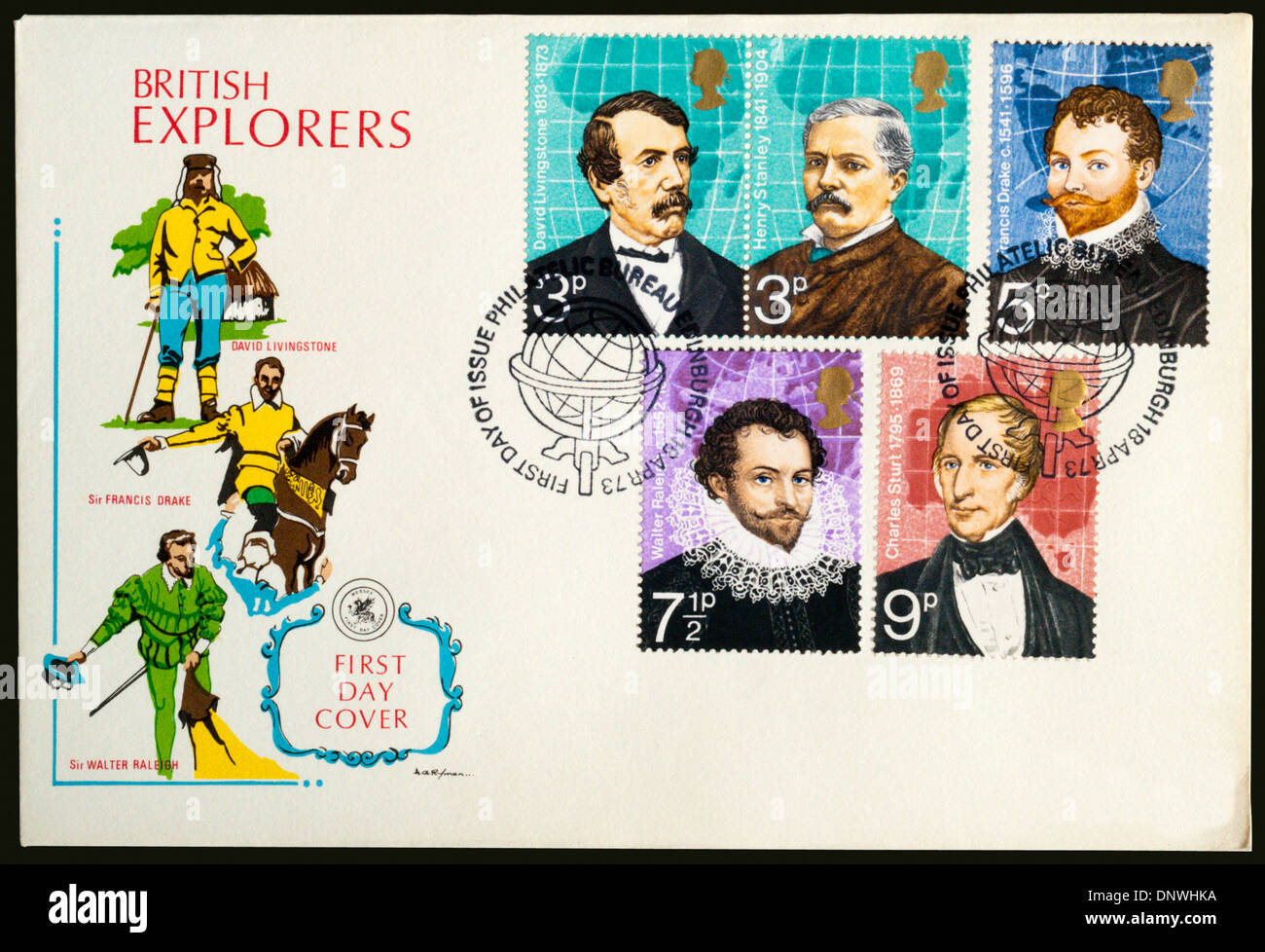 1973 First Day Cover commemorating British Explorers. - Stock Image