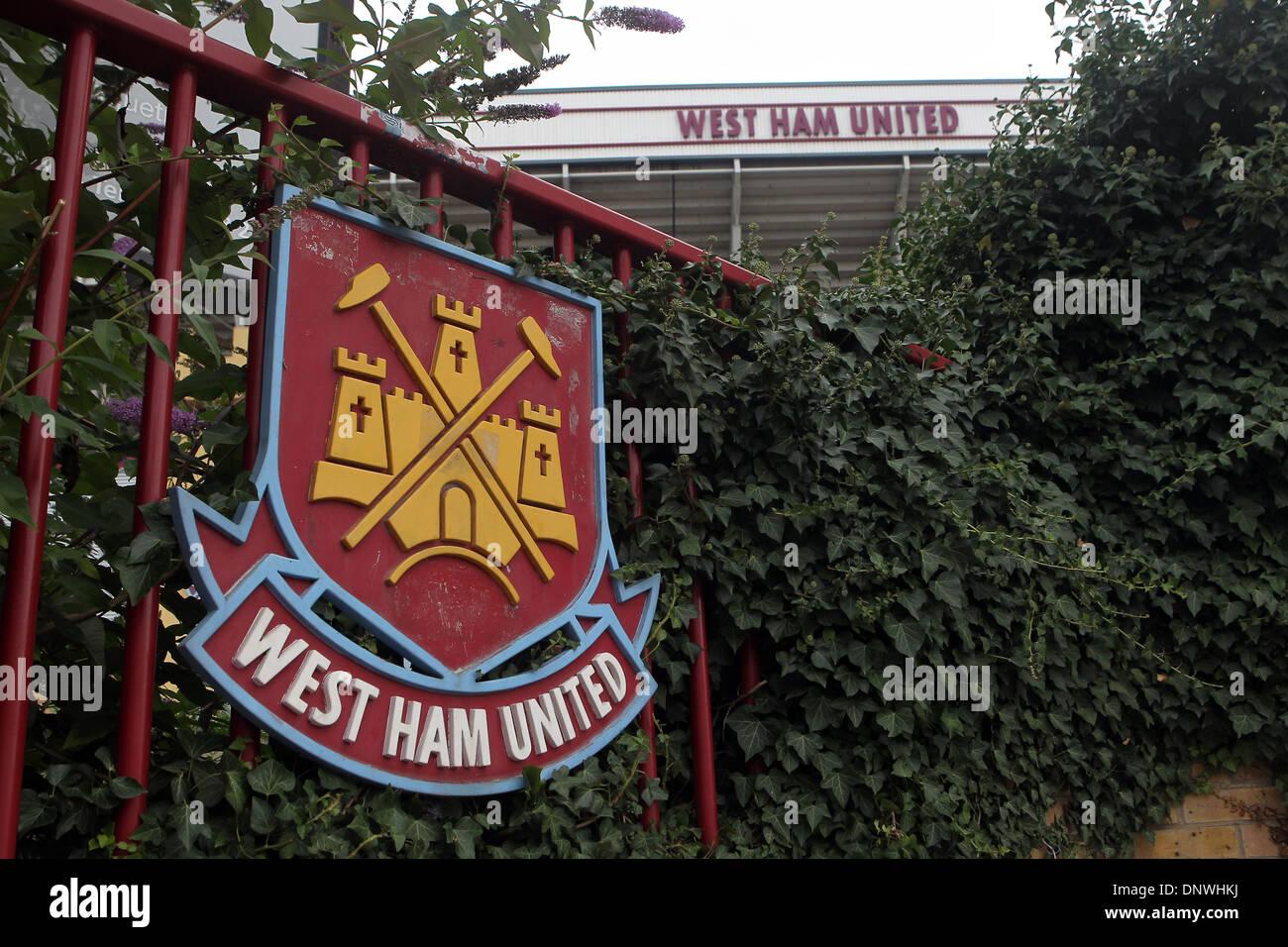 West Ham United Football Club badge outside the Boleyn Ground, Upton Park, London - Stock Image
