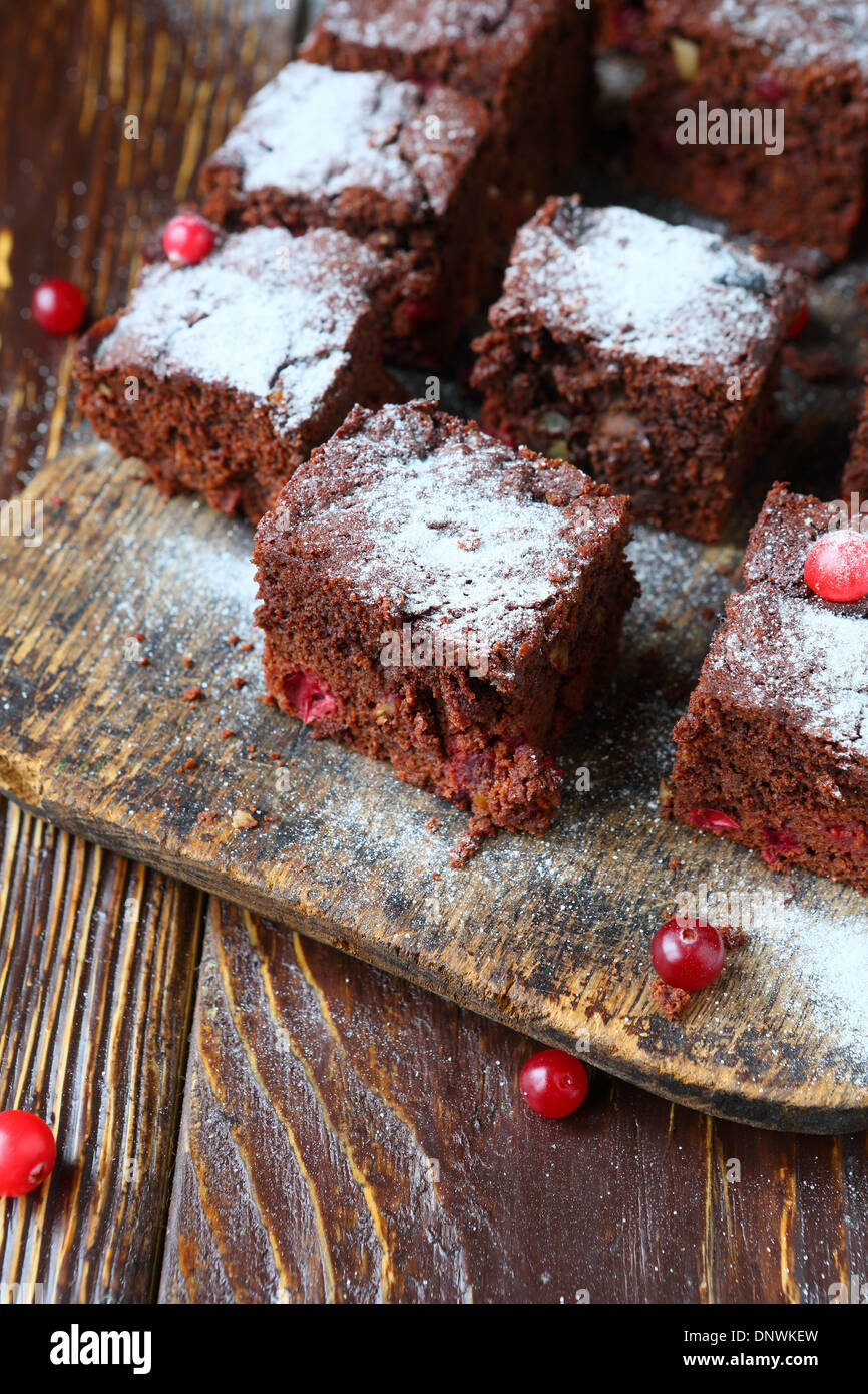 chocolate cake with cranberry, brownie rustic, food - Stock Image