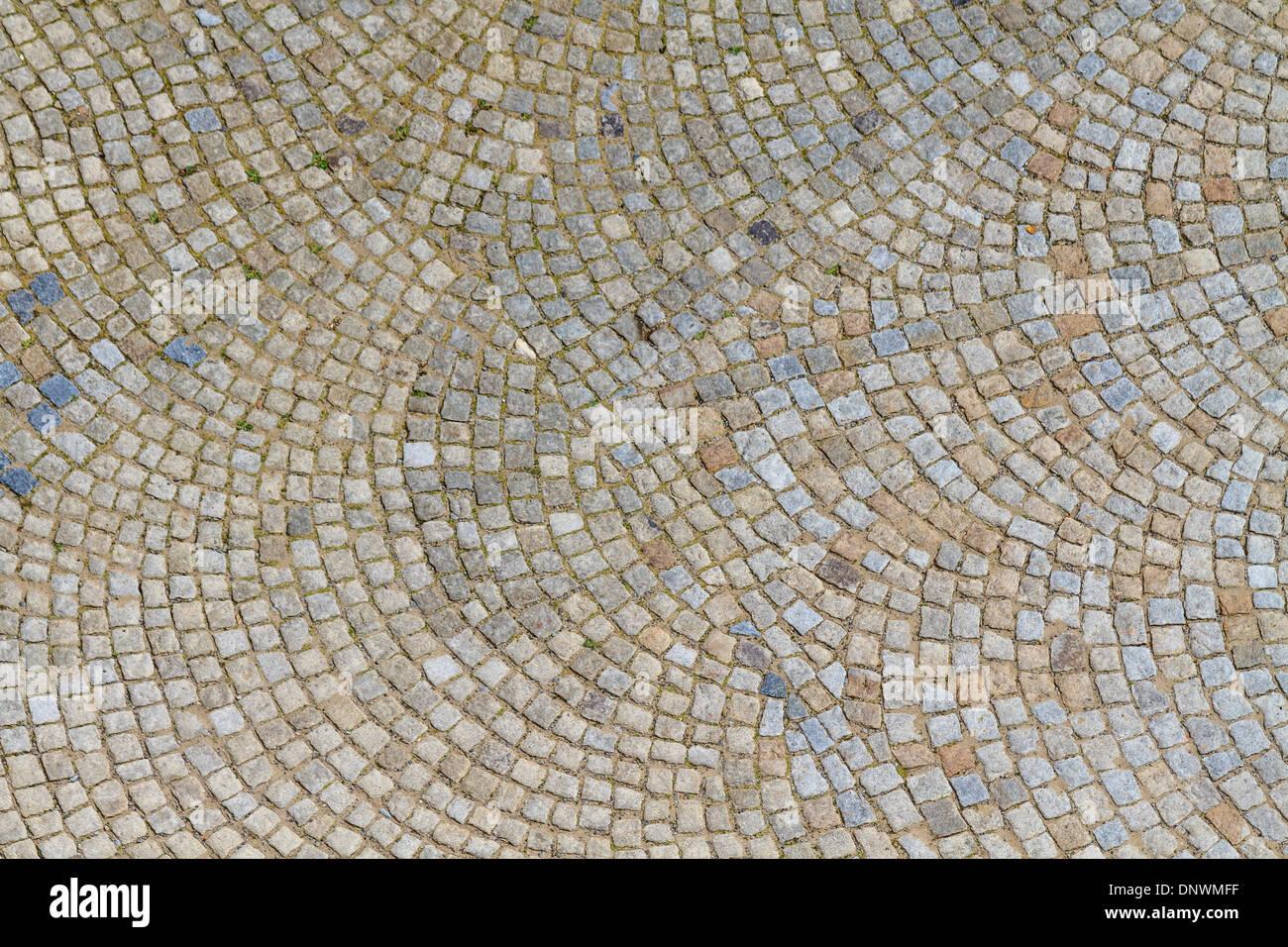 Granite Cobblestone Street Pavement (texture) - Stock Image
