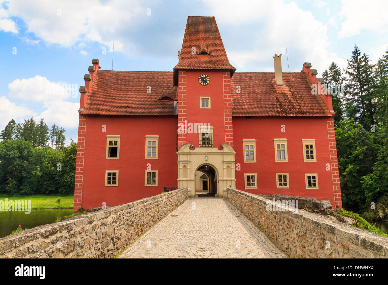 Red water chateau Cervena Lhota in Southern Bohemia, Czech Republic - Stock Image