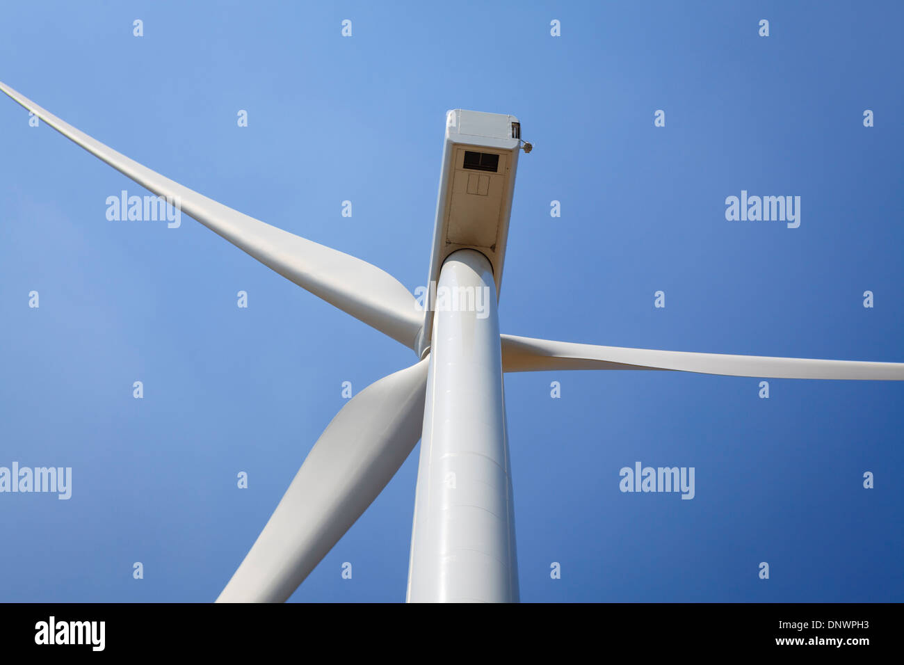Wind turbine view from below. Lleida province. Catalonia. Spain. - Stock Image