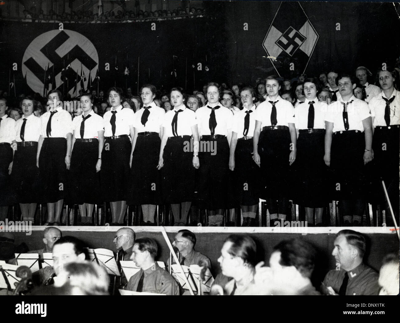 Feb. 10, 1935 - Berlin, Germany - Giant Hitler Girls' Parade: on February 10th, 1935, a big Hitler Girls' parade Stock Photo