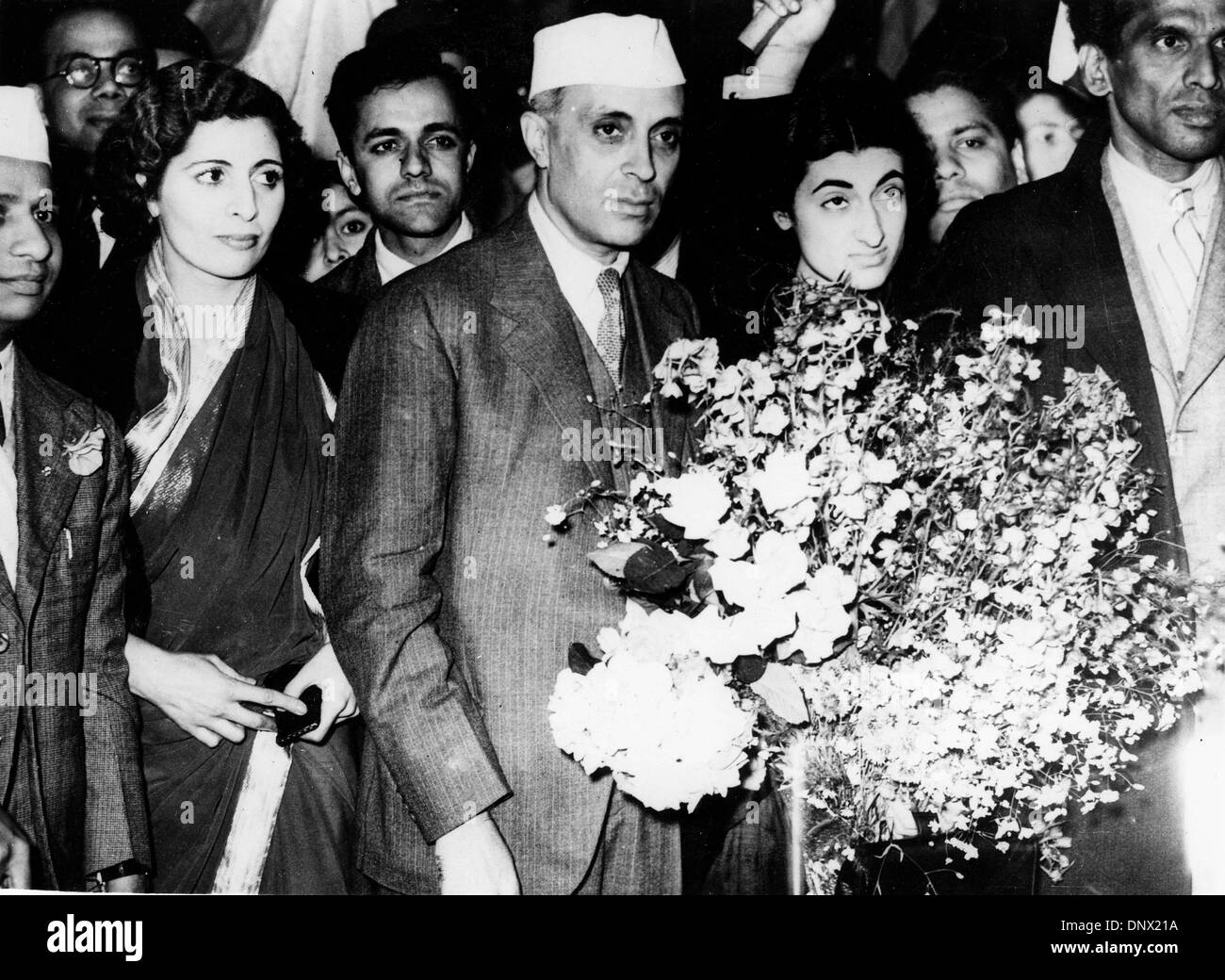 June 23, 1938 - Victoria, Newbury, U.K. - Pandit JAWAHARLAL NEHRU former President of the Indian Congress Party and his daughter Prime Minister of India, INDIRA GANDHI at a party. (Credit Image: © KEYSTONE Pictures USA/ZUMAPRESS.com) - Stock Image