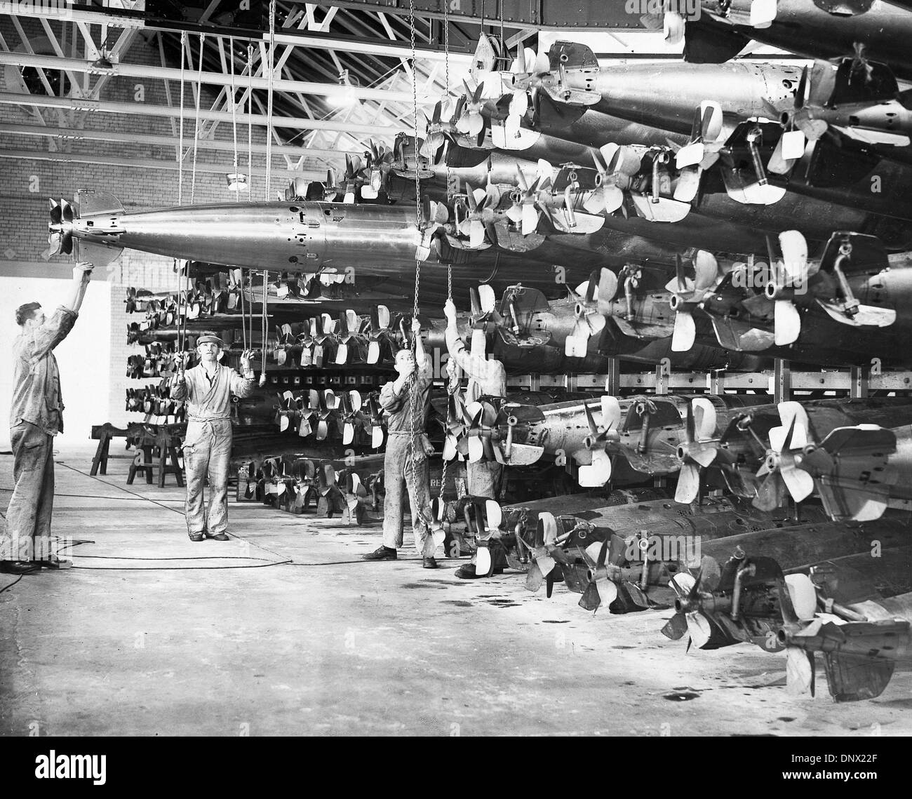 Nov. 16, 1939 - London, England, U.K. - Every torpedo was 'tried out' and 'passed under working condition' before being dispatched to a Royal Navy ship. (Credit Image: © KEYSTONE Pictures USA/ZUMAPRESS.com) - Stock Image