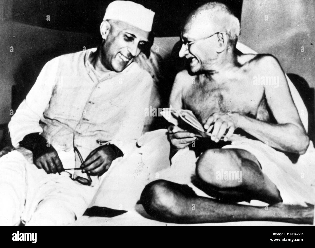 Jan. 1, 1940 - Delhi, India - A major political and spiritual leader of India and the Indian independence movement MAHATMA GANDHI (right) and his comrade-in-arms JAWAHARLAL NEHRU. GANDHI, recognized in India as the Father of the Nation, was the pioneer of Satyagraha-the resistance of tyranny through mass civil disobedience, firmly founded upon ahimsa or total non-violence-which led - Stock Image