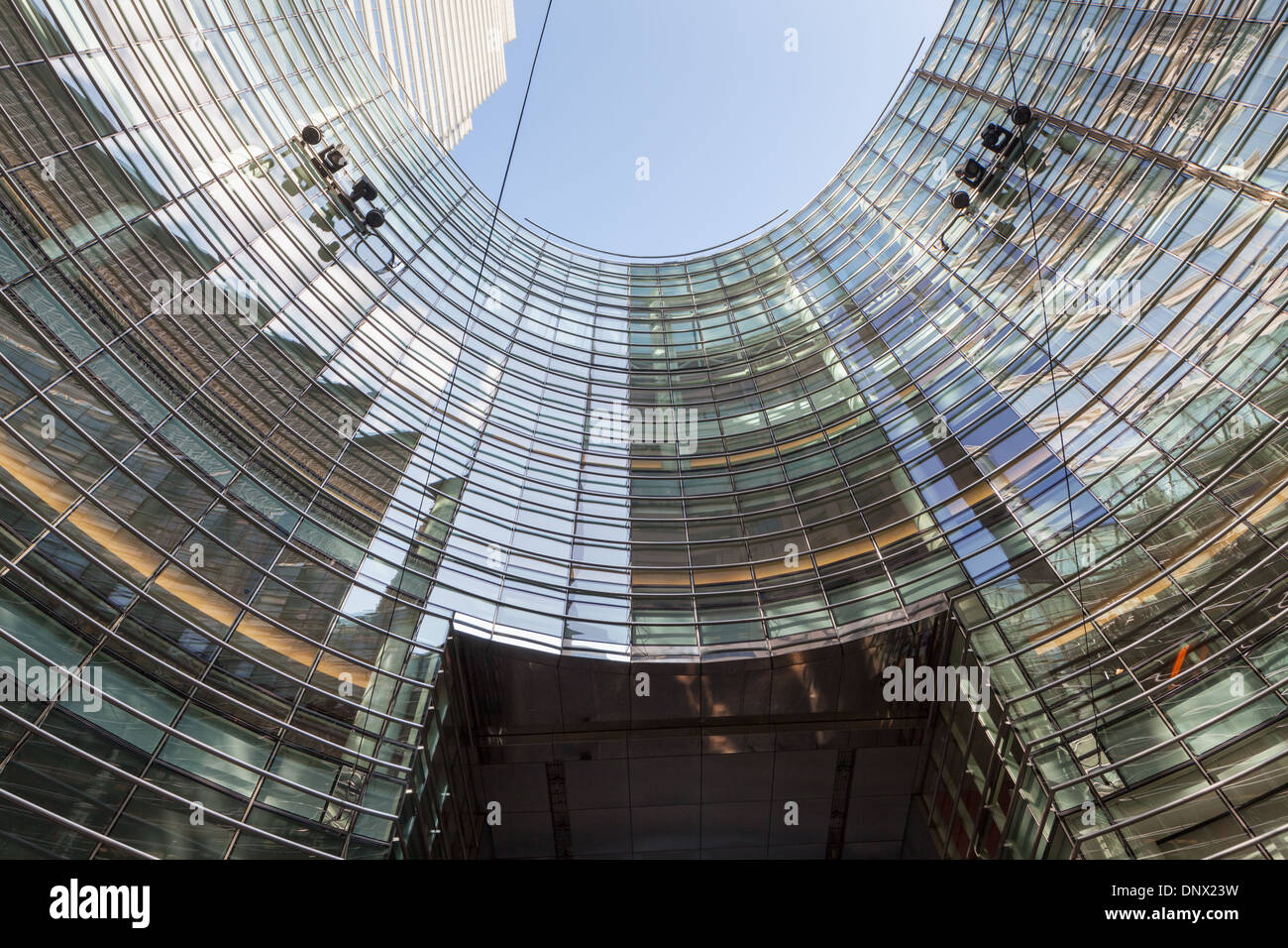 Bloomberg Tower, has seven-story curved atrium and open plaza, César Pelli architects, New York City, 2005. - Stock Image