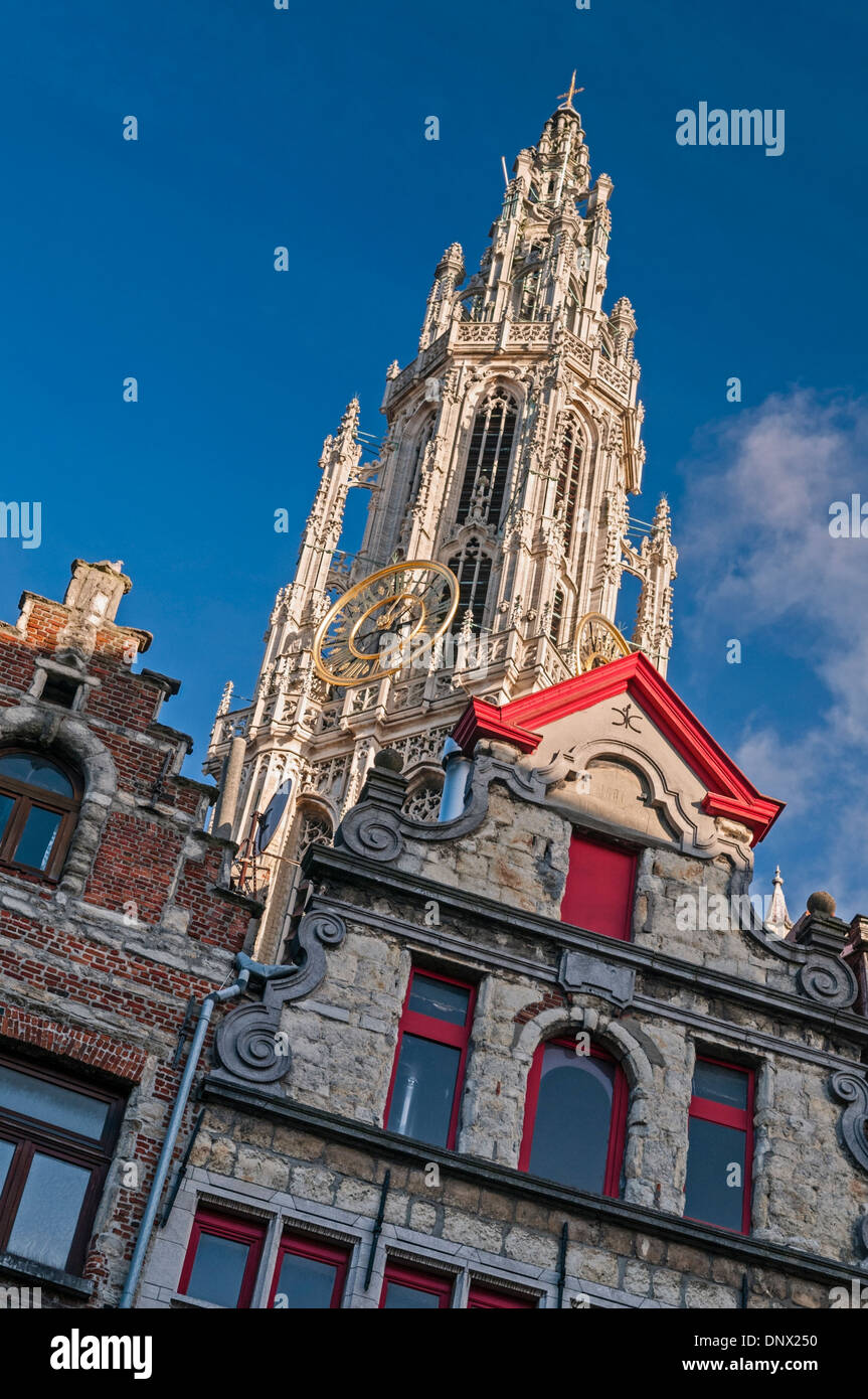 Cathedral spire and guildhouses Antwerp Belgium - Stock Image