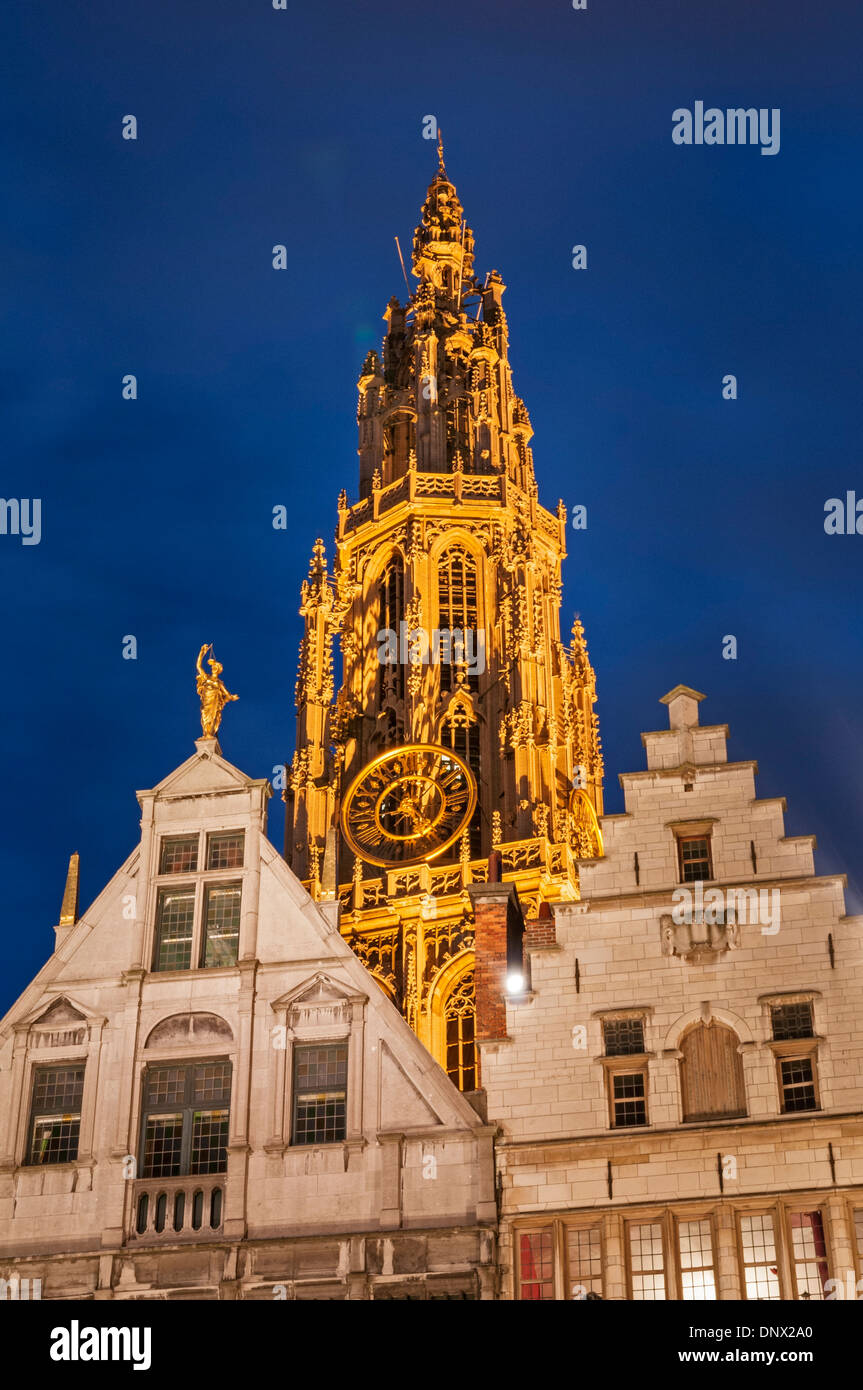Cathedral spire and guild houses. Antwerp Belgium - Stock Image
