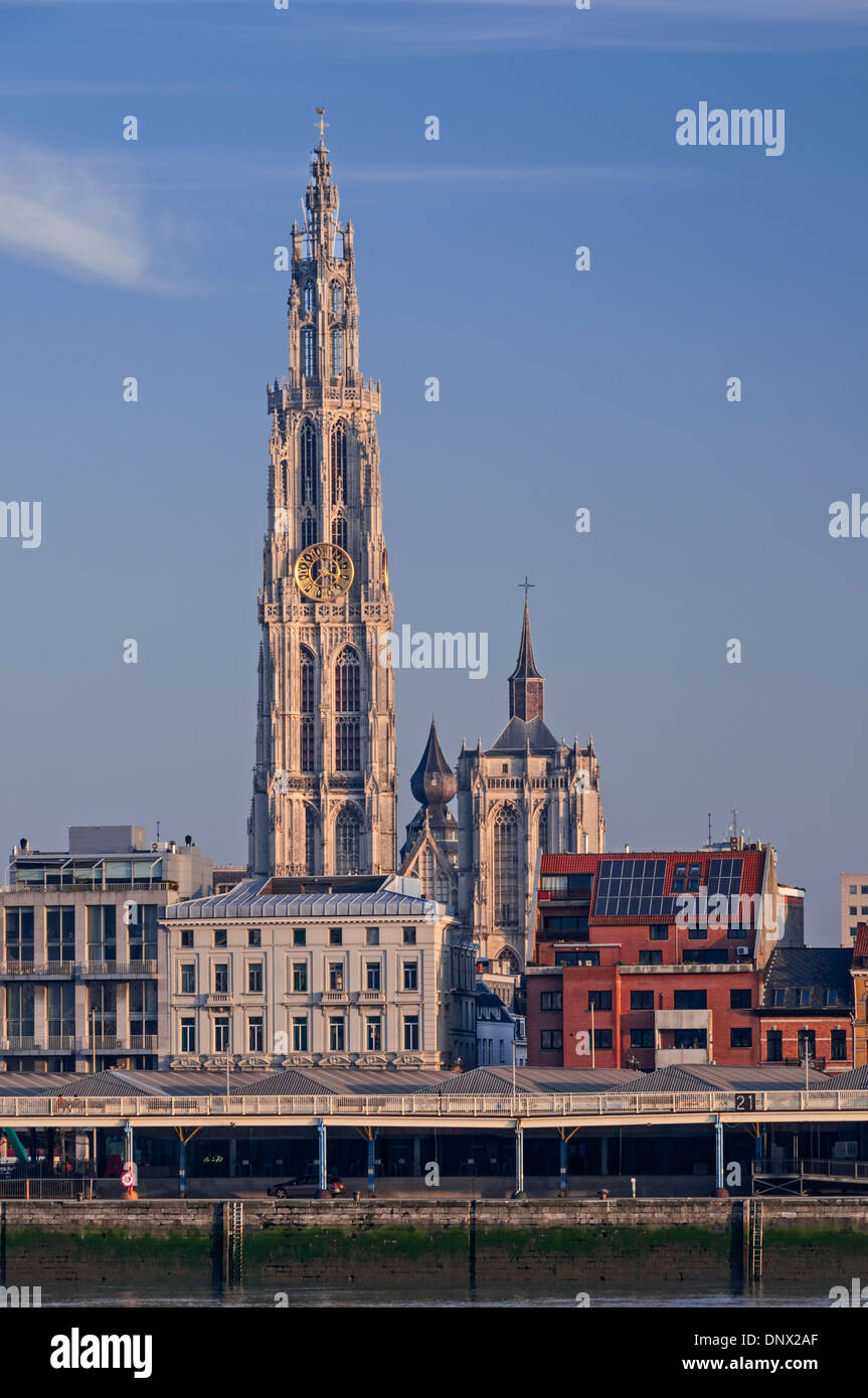 City view to cathedral Antwerp Belgium Stock Photo